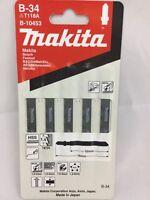 MAKITA B-34 t118a HSS 5 pack metal. PVC jigsaw blades fit BOSCH FESTOOL DEWALT