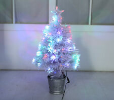 2FT White Pink Green Fibre Optic Christmas Tree Xmas LED Lights 60cm Star Gold