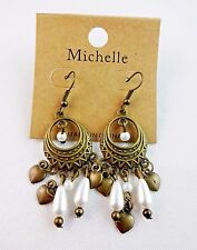 Antiqued gold chandelier earrings white pearls hearts hook fasteners