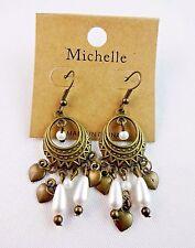 Antiqued Gold Chandelier Earrings White Pearls Hearts Hook Fasteners