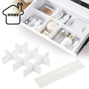 24X Adjustable Drawer Dividers Organiser Socks Make Up Plastic Closet Separators