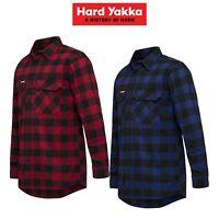 Mens Hard Yakka Check Flannel Long Sleeve Shirt Button Work Hard Fashion Y07295