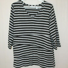 DENIM & CO 1X Tiered Striped Knit Top 3/4 Sleeves V Neck