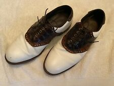 Footjoy Classics Dry Premiere White Pebble Calf w/ dual Brown Croc Saddle 9.5D