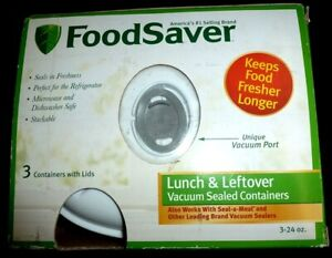 NEW FoodSaver Lunch-and-Leftover Container Set - (3)  24 oz. - NEW! Sealed!