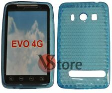 Cover Custodia Per HTC EVO 4G Azzurro Gel Silcone TPU Diamond