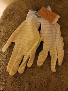 Medium Garden Gardener Gardening Gloves Yard Nitrile Knit Wrist Blue Stripes