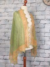Stunning 100% cashmere lace shawl / scarf / wrap,  col: Laurel / light mustard