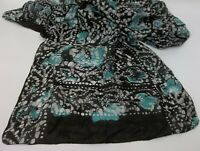 """Darnick 100% Silk Abstract Black Turquoise & White Scarf India 13.5"""" x 58"""""""