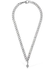 """MARCELO BURLON County of Milan Cross Logo Short Chain Necklace Silver 44cm 17"""""""