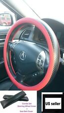 1x Carbon Fiber Red Leather Steering Wheel Cover Seat Belt Cover Set Slip On top