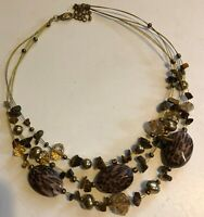 "Vintage 15"" Triple Strand Brown Tan Leopard Glass Beads Necklace"