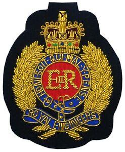 ST EIIR Royal Engineers Blazer Badge Gold Bullion Wire Hand Embroidery 65mmx85mm