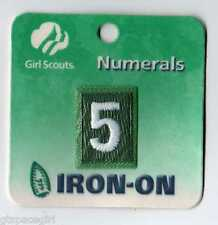 ~#5 Five~Junior Green Girl Scouts Troop Number Numeral Badge Patch~Iron On~NEW