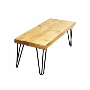 Dining Room Table Bench With Hair Pin  Legs | Industrial Style Reclaimed Timber