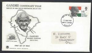 GB 1969 Gandhi FDC – Stuart cachet