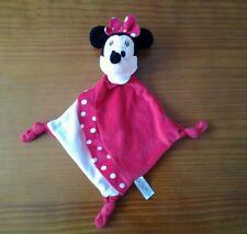 Doudou plat Minnie Disney Nicotoy 3 noeuds pois col blanc rouge