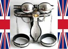 Full Male Chastity Belt Device black cage with thigh bands bra 65-110cms