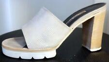 WALTER STEIGER Italy BEIGE SLIDES HEELS Platform SANDALS Peep-Toe SHOES 37.5 VGC