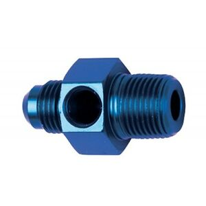 """Inline Gauge Adapter Fitting -8 AN Male to 3/8 NPT Male 1/8"""" FTP  Fragola 495004"""