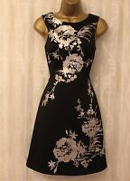 Karen Millen Rose Floral Print Scuba Cocktail Occasion Party A-line Dress 10 38
