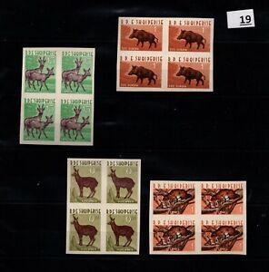 BL 4X ALBANIA - MNH - IMPERF - WILD ANIMALS - BOAR - DEERS