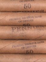 (FIVE) FRB Denver Lincoln Wheat Cent Penny Rolls 250 Pennies 1909-1958 PDS