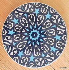 Turkish ceramic trivet ROUND- traditional Ottoman designs,16cm diameter #7