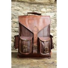 100% Real Goat Leather Bag Rucksack Backpack Vintage Laptop Brown Real Messenger