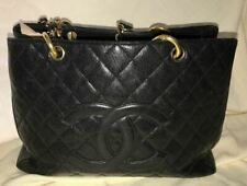 Chanel Quilted Caviar Black Leather