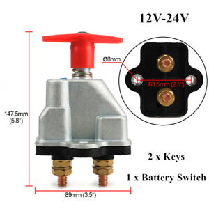 12V 24V 250A Car Marine Boat Disconnect Battery Isolator Cut Off Kill Switch Key
