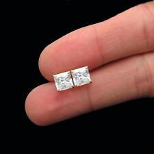 2.5ct Princess Cut Created Diamond Earrings 14K Yellow Gold Square Basket Studs