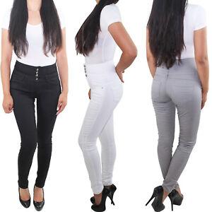 Damen 4 Knopf Skinny Jeans Röhren Slim Fit Hose High Waist Corsagenhose Stretch