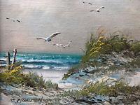 ORIGINAL VINTAGE C. MELTON OIL PAINTING SIGNED Beach Ocean Sand Dunes SEAGULLS
