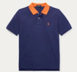 Ralph Lauren Boys Polo Shirt N Blue /Orange Collar Size  9 Months Short Sleeve