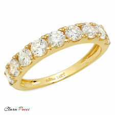 1.55 ct Simulated pave set Wedding Engagement Band Ring Real 14kt Yellow Gold