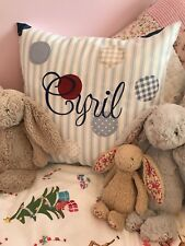 """PERSONALISED Fryetts Blue Patchwork Spot Bobo Shabby Chic Pink 16"""" Cushion Cover"""