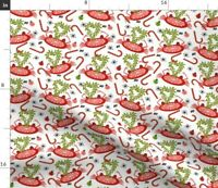 Snowflakes Holidays Crabs Red White Pink  Fun Spoonflower Fabric by the Yard