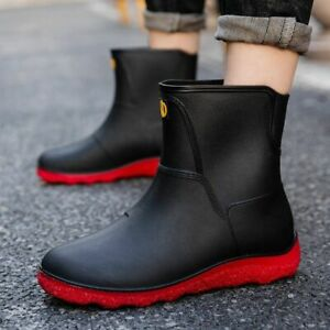 Men Rain Boots Waterproof Rubber Wellies Wellington Ankle Slip On Snow Shoes