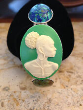 AFRICAN AMERICAN BLACK LADY CAMEO CUFF BRACELET WITH TURQUOISE STONES!