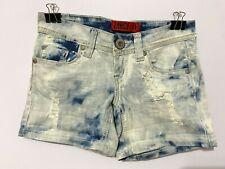 "Zanadi girls blue/white ripped denim shorts, size 0 w/ 5"" inseam, 6"" rise"