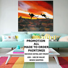120cm x 120cm Kangaroo Landscape Sunset Art Painting by jane crawford Australia