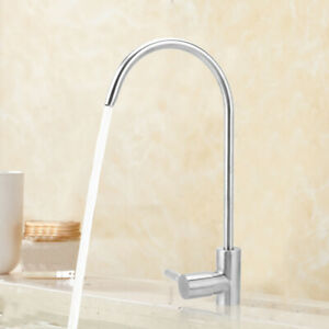 Stainless Steel Kitchen Sink Taps Swivel Spout Single Lever Tap Faucet G1/4in