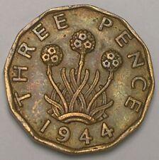 1944 UK Great Britain British Three 3 Pence WWII Era Plant Coin VF+