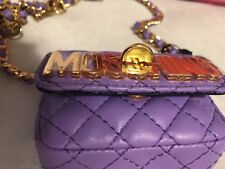 Moschino Quilted Mini Belt Bag Crossbody Turnlock Chain Handbag Violet Purple