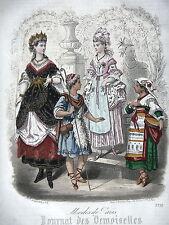 GRAVURE ANCIENNE MODE 19e - JOURNAL DES DEMOISELLES - TRAVESTISSEMENTS - 1870