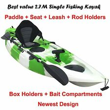 2.7M Fishing Kayak Single Sit-on 5 Rod Holders Padded Seat Paddle Lime White