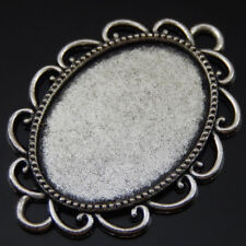 10pcs Wave Design Charms Silver Alloy Cabochon Base Setting Pendants Tray