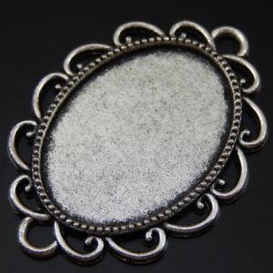 10pcs Wave Design Charms Silver Alloy Cabochon Base Setting Pendants Tray