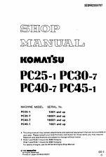Komatsu PC25-1 PC30-7 PC40-7 PC45-1 Excavator Service Shop Manual in ring binder